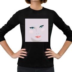 Face Beauty Woman Young Skin Women s Long Sleeve Dark T-Shirts