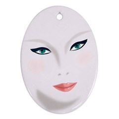 Face Beauty Woman Young Skin Oval Ornament (Two Sides)