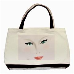 Face Beauty Woman Young Skin Basic Tote Bag (Two Sides)