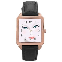 Face Beauty Woman Young Skin Rose Gold Leather Watch