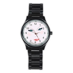 Face Beauty Woman Young Skin Stainless Steel Round Watch