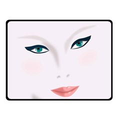 Face Beauty Woman Young Skin Double Sided Fleece Blanket (Small)