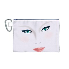 Face Beauty Woman Young Skin Canvas Cosmetic Bag (M)