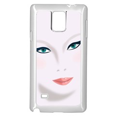 Face Beauty Woman Young Skin Samsung Galaxy Note 4 Case (White)