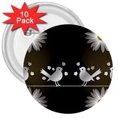Daisy Bird Twitter News Gossip 3  Buttons (10 pack)