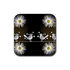 Daisy Bird Twitter News Gossip Rubber Coaster (Square)