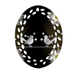Daisy Bird Twitter News Gossip Ornament (Oval Filigree)