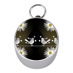 Daisy Bird Twitter News Gossip Mini Silver Compasses