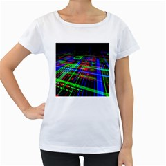 Electronics Board Computer Trace Women s Loose-Fit T-Shirt (White)