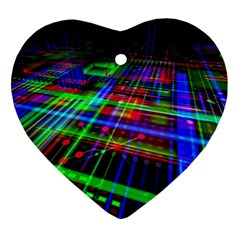 Electronics Board Computer Trace Heart Ornament (2 Sides)