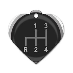 Gearshift Gear Stick Gear Engine Dog Tag Heart (Two Sides)