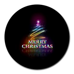 Merry Christmas Abstract Round Mousepads