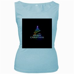 Merry Christmas Abstract Women s Baby Blue Tank Top