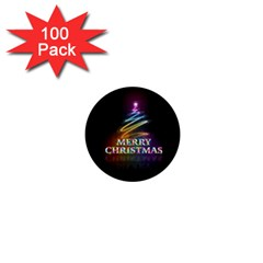 Merry Christmas Abstract 1  Mini Buttons (100 pack)