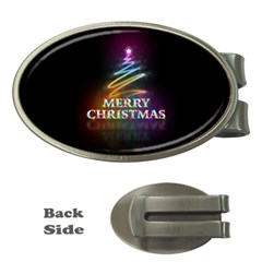 Merry Christmas Abstract Money Clips (Oval)