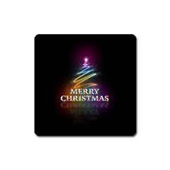 Merry Christmas Abstract Square Magnet