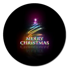 Merry Christmas Abstract Magnet 5  (Round)
