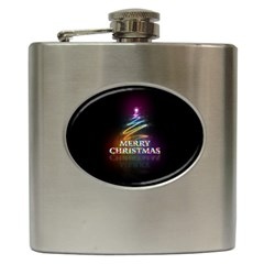 Merry Christmas Abstract Hip Flask (6 oz)