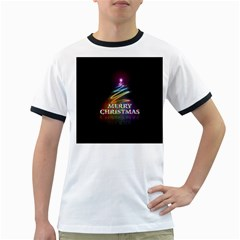 Merry Christmas Abstract Ringer T-Shirts
