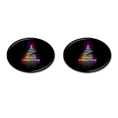 Merry Christmas Abstract Cufflinks (Oval)