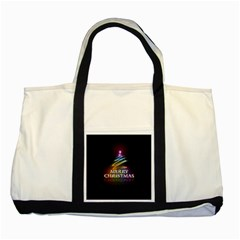 Merry Christmas Abstract Two Tone Tote Bag
