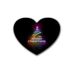 Merry Christmas Abstract Rubber Coaster (Heart)