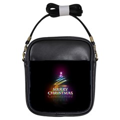 Merry Christmas Abstract Girls Sling Bags