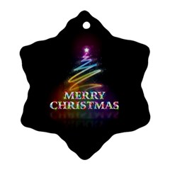 Merry Christmas Abstract Snowflake Ornament (2-Side)