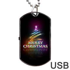 Merry Christmas Abstract Dog Tag USB Flash (Two Sides)