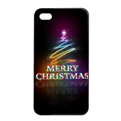 Merry Christmas Abstract Apple iPhone 4/4s Seamless Case (Black)
