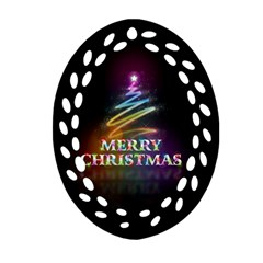 Merry Christmas Abstract Oval Filigree Ornament (2-Side)
