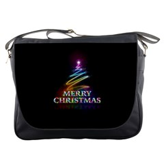 Merry Christmas Abstract Messenger Bags