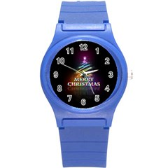 Merry Christmas Abstract Round Plastic Sport Watch (S)