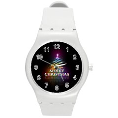 Merry Christmas Abstract Round Plastic Sport Watch (M)