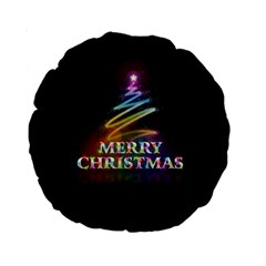 Merry Christmas Abstract Standard 15  Premium Round Cushions