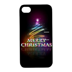 Merry Christmas Abstract Apple iPhone 4/4S Hardshell Case with Stand