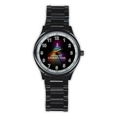 Merry Christmas Abstract Stainless Steel Round Watch