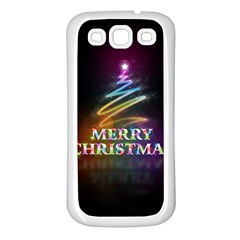 Merry Christmas Abstract Samsung Galaxy S3 Back Case (White)