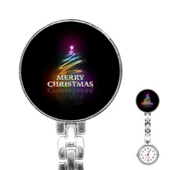 Merry Christmas Abstract Stainless Steel Nurses Watch