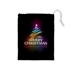 Merry Christmas Abstract Drawstring Pouches (Medium)
