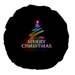 Merry Christmas Abstract Large 18  Premium Flano Round Cushions