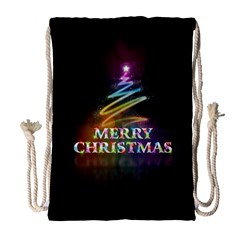 Merry Christmas Abstract Drawstring Bag (Large)