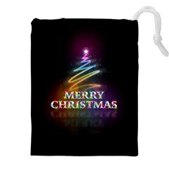 Merry Christmas Abstract Drawstring Pouches (XXL)
