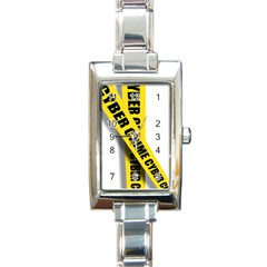 Internet Crime Cyber Criminal Rectangle Italian Charm Watch