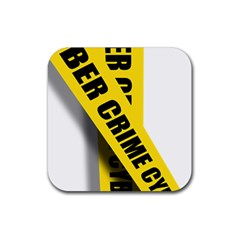 Internet Crime Cyber Criminal Rubber Square Coaster (4 pack)