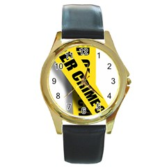 Internet Crime Cyber Criminal Round Gold Metal Watch