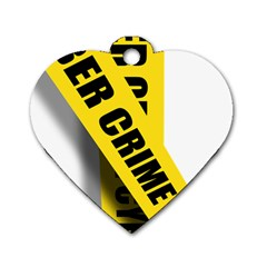 Internet Crime Cyber Criminal Dog Tag Heart (Two Sides)