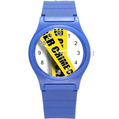 Internet Crime Cyber Criminal Round Plastic Sport Watch (S)