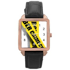 Internet Crime Cyber Criminal Rose Gold Leather Watch