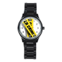 Internet Crime Cyber Criminal Stainless Steel Round Watch